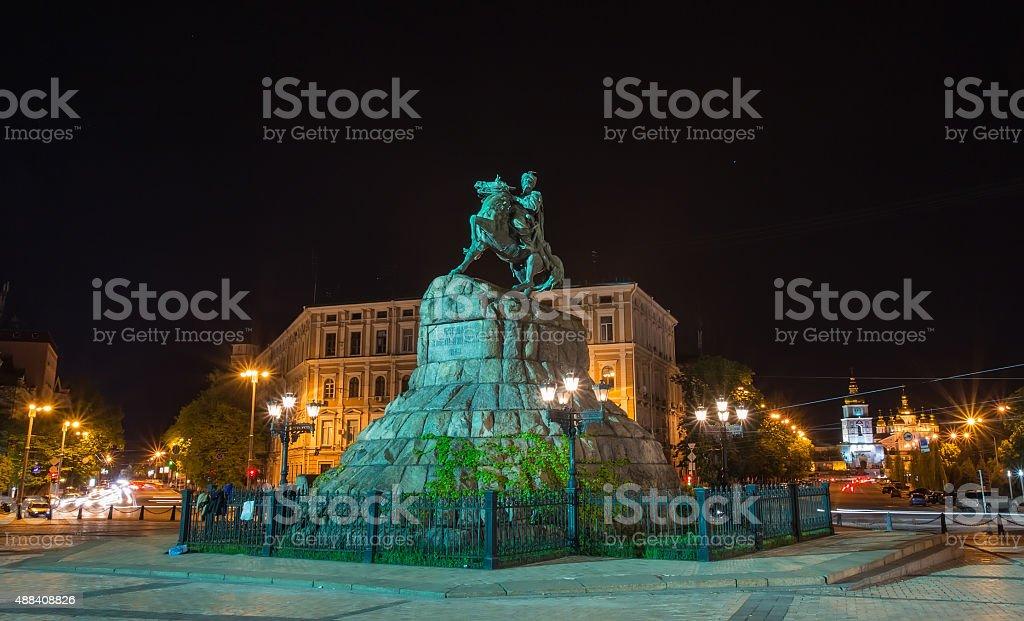 Bohdan Khmelnytsky statue, Kiev, Ukraine stock photo