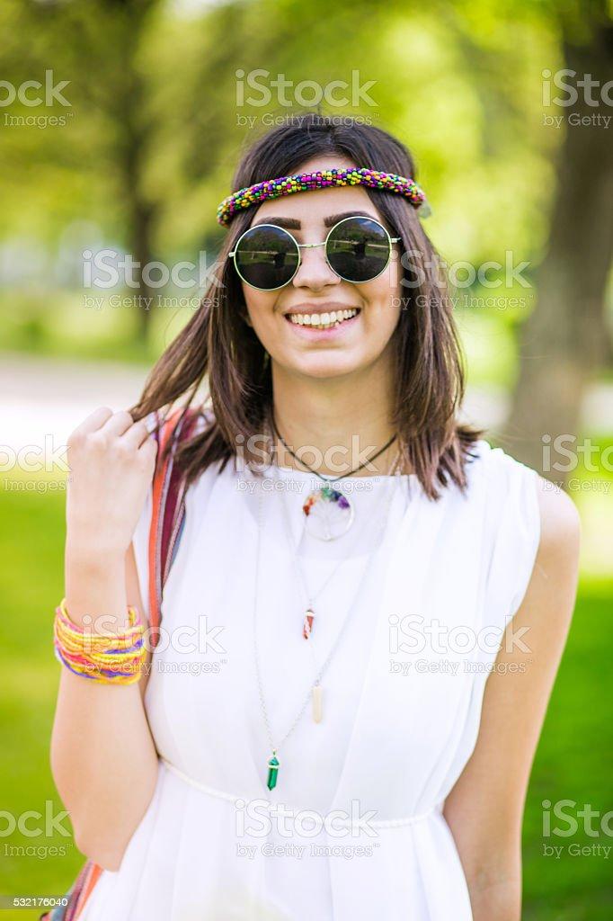 Bohemian woman spring portrait stock photo