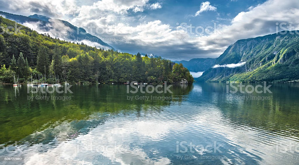 Bohinj lake 2 stock photo