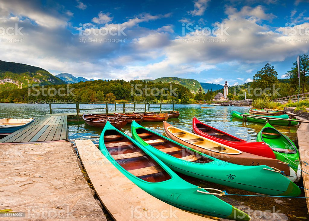 Bohinj Lake and Church of St John the Baptist stock photo