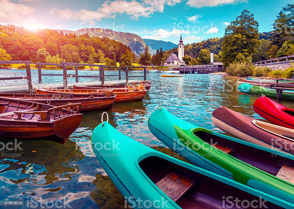 Bohinj Lake Church of St John the Baptist stock photo