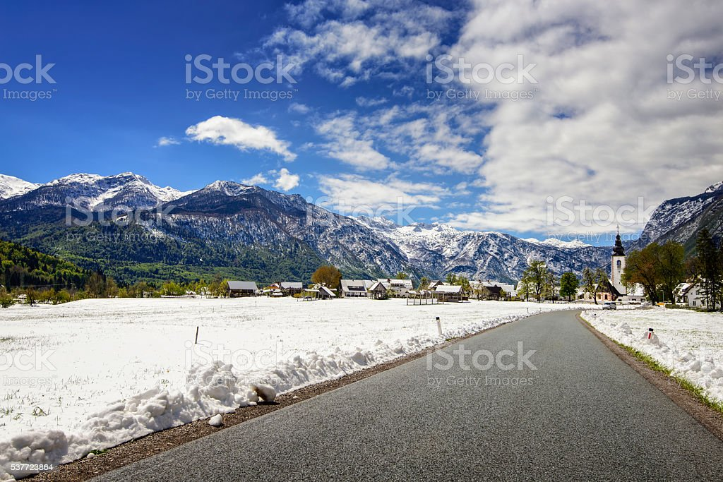 Bohinj spring snow stock photo