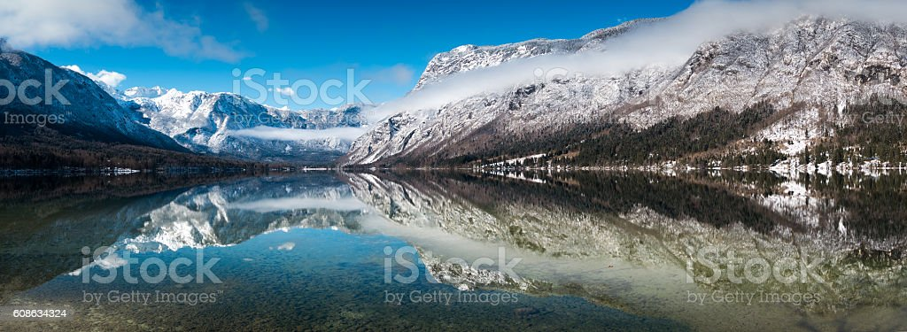 Bohinj Winter Panorama stock photo