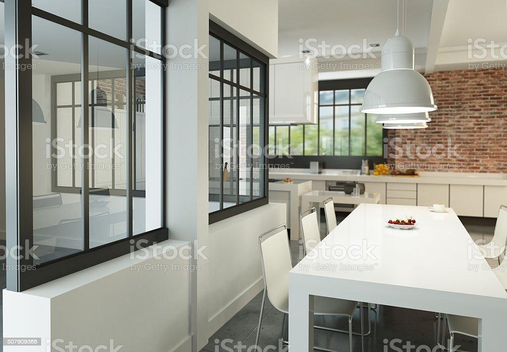Boho chic loft kitchen stock photo
