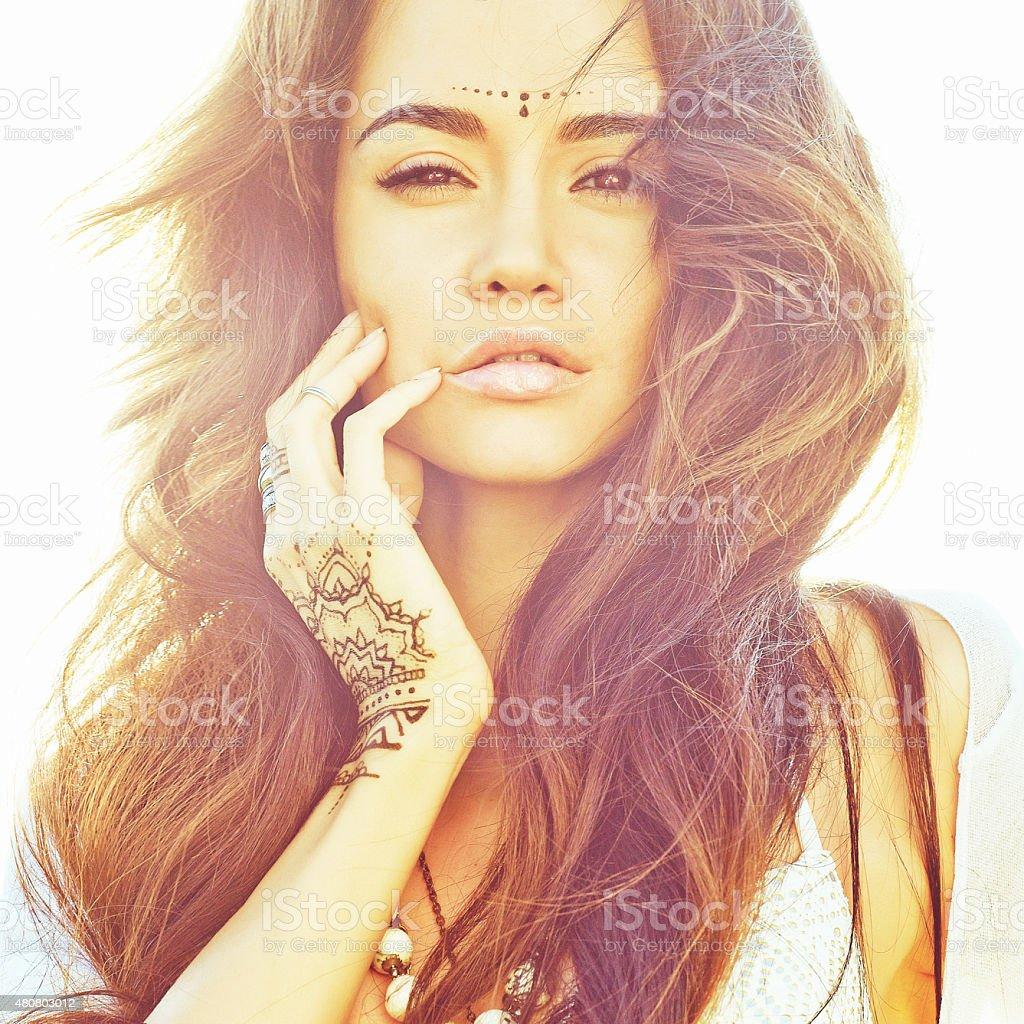 Boho style lady stock photo