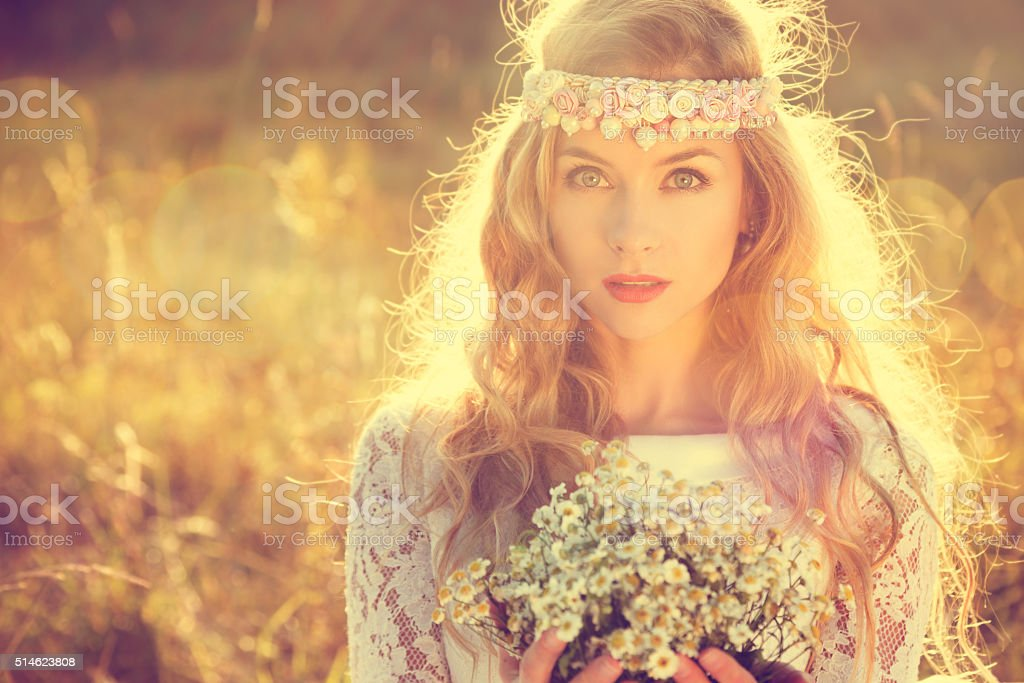 Boho Styled Bride on Nature Background stock photo