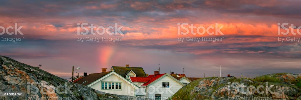 Bohuslan island village sunset stock photo