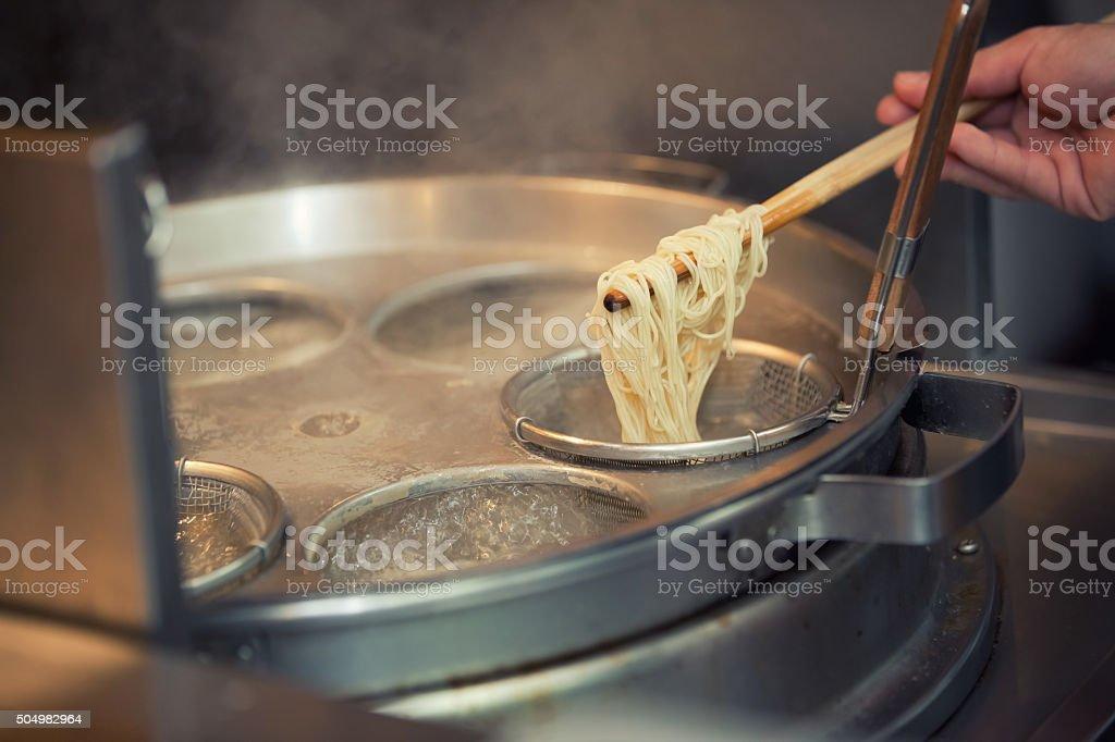 Boil noodle stock photo