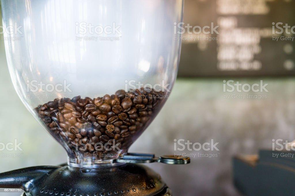 boil vapor coffee beans in coffee machine stock photo