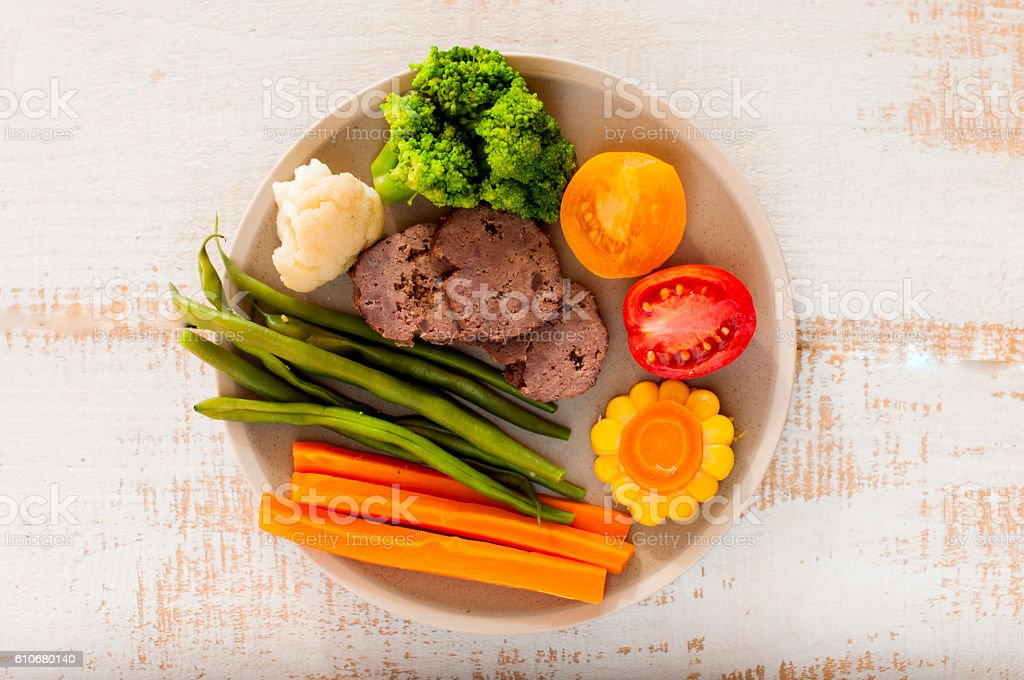 boiled and fresh vegetables with boiled beaf stock photo