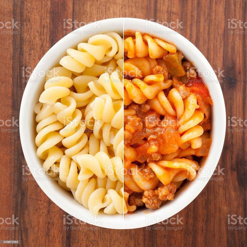 Boiled and prepared fusilli composition stock photo