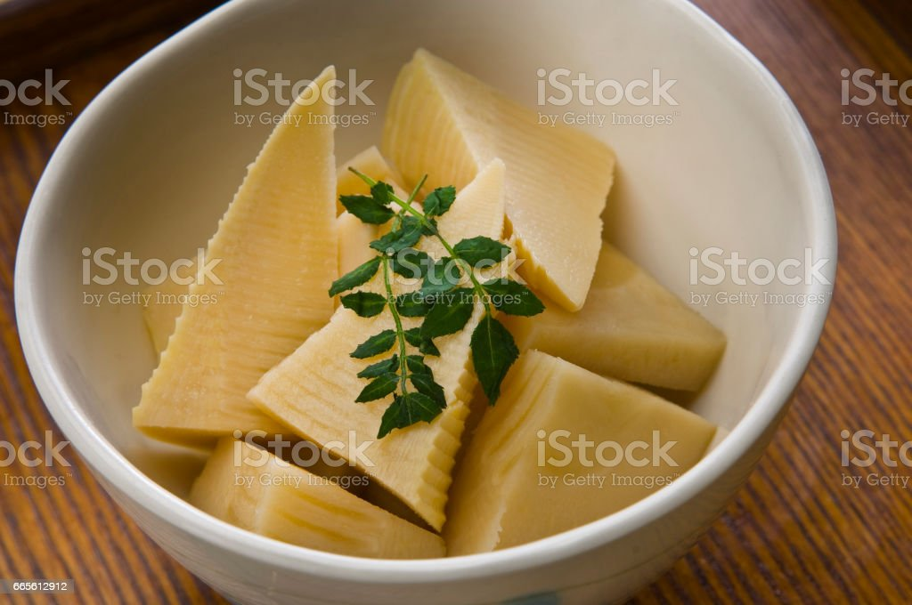 Boiled bamboo shoots stock photo