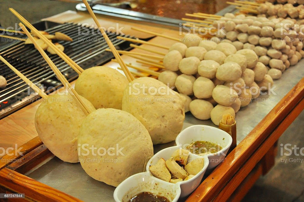 boiled big fish balls sold in the open market,Thailand stock photo