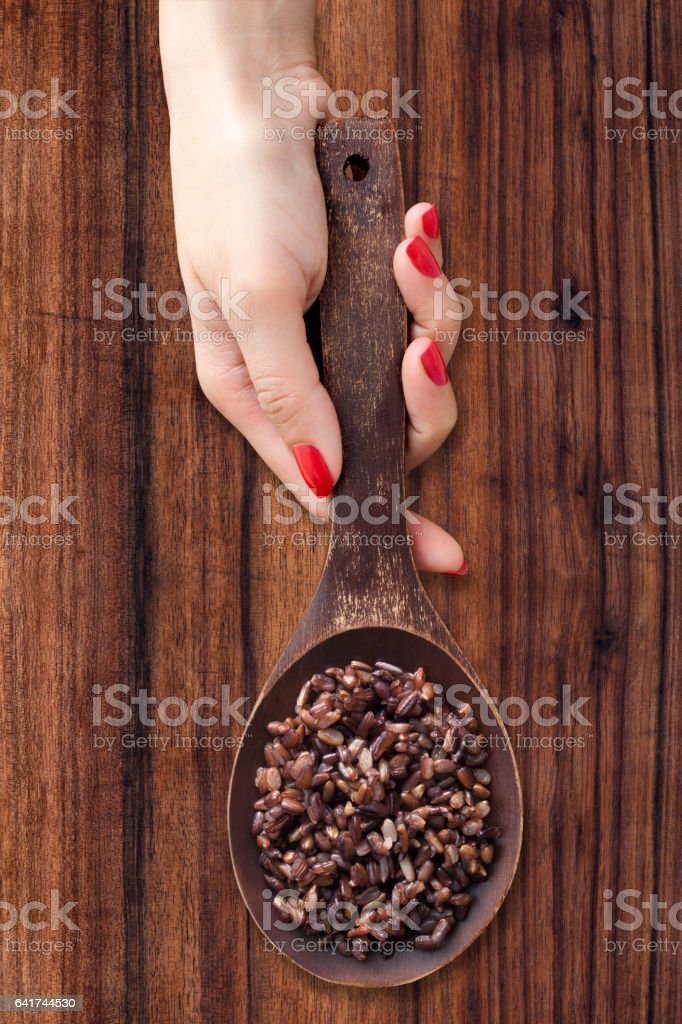 Boiled black rice stock photo