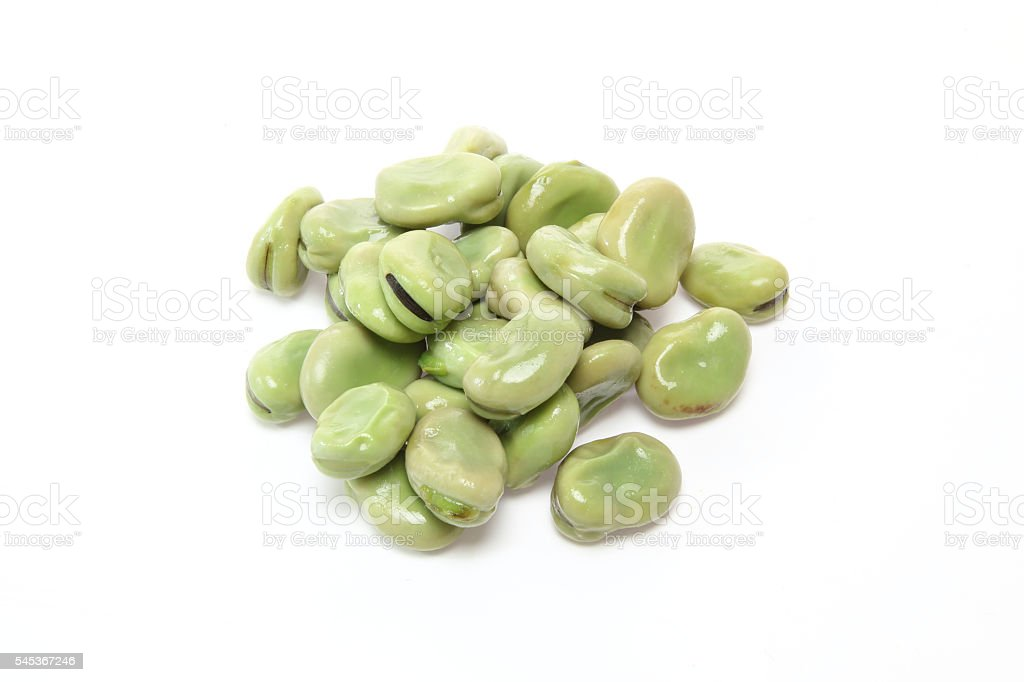 Boiled broad beans stock photo