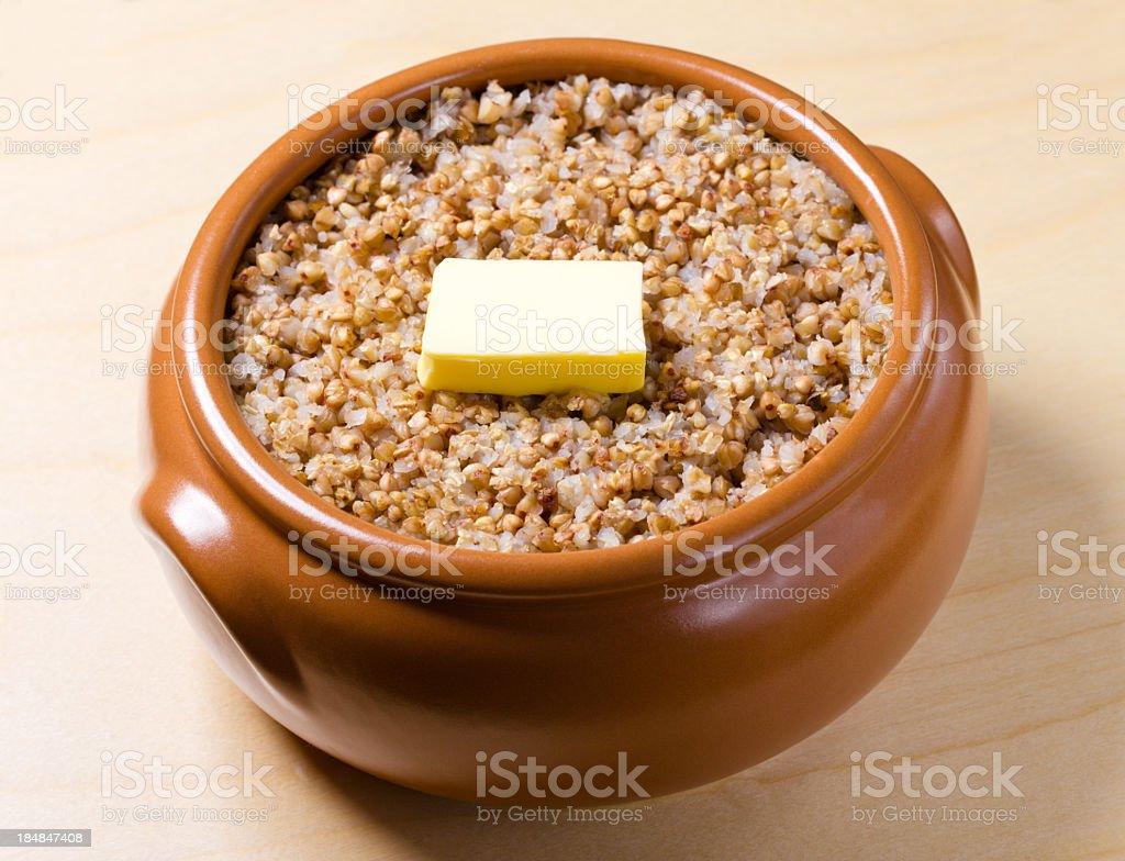 boiled buckwheat stock photo