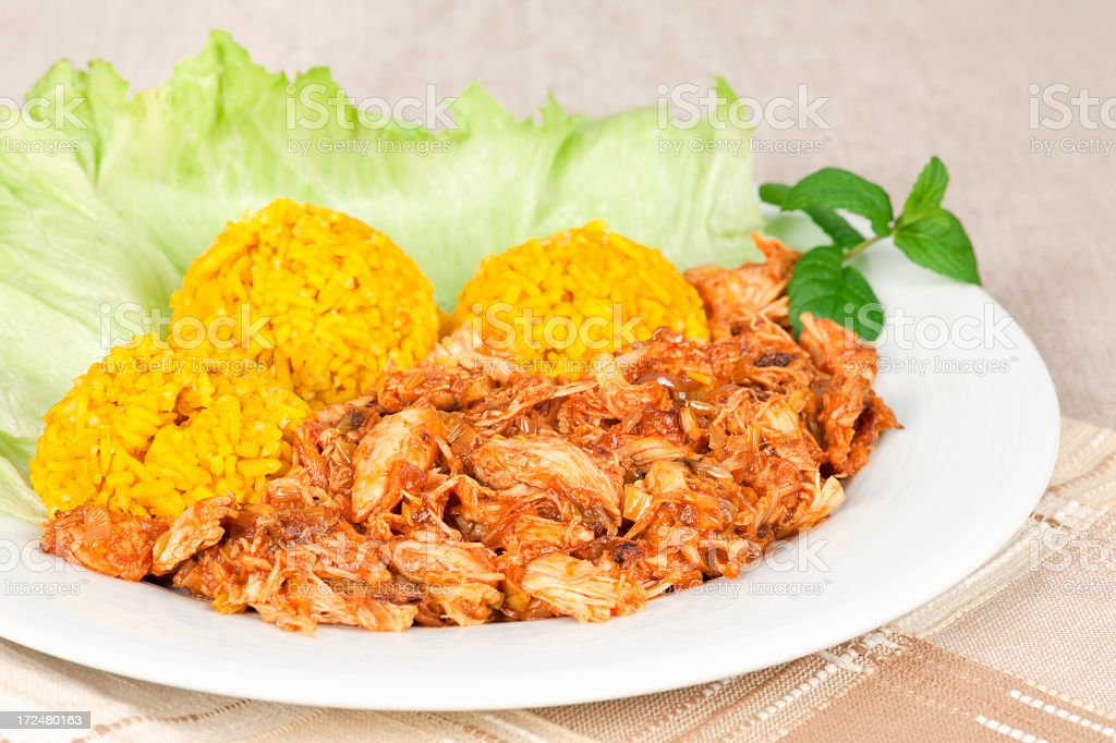 Boiled chicken meat on ginger royalty-free stock photo