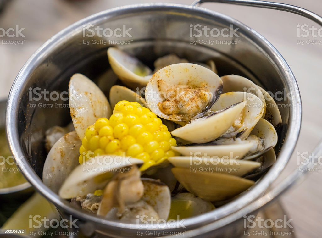 Boiled Clam in Bucket stock photo