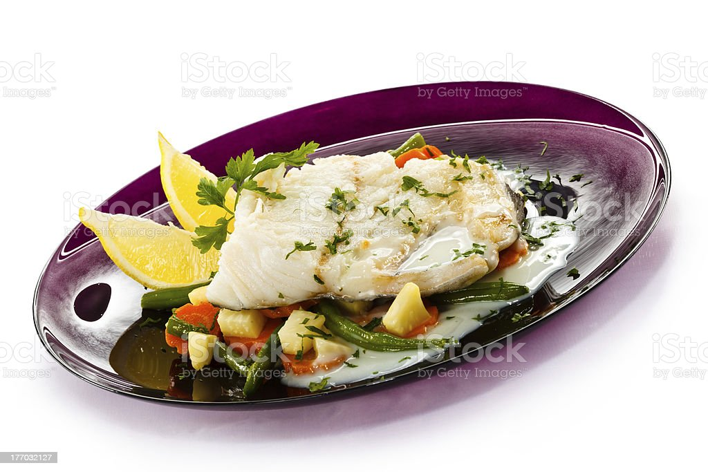 Boiled cod and vegetables royalty-free stock photo