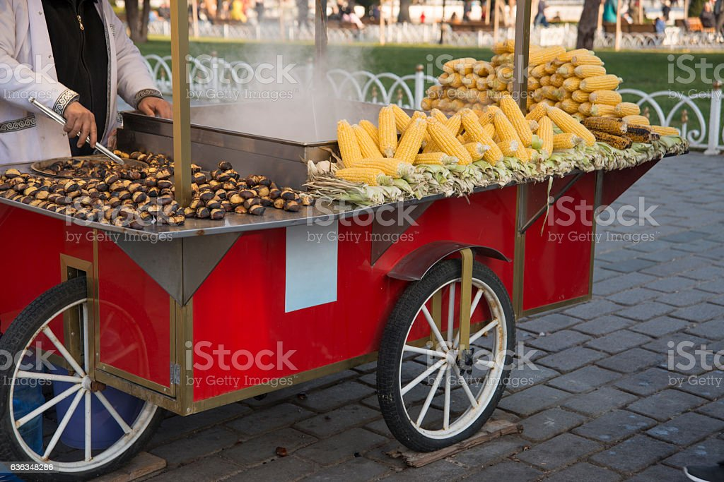 Boiled Corn And Roasted Chestnuts stock photo