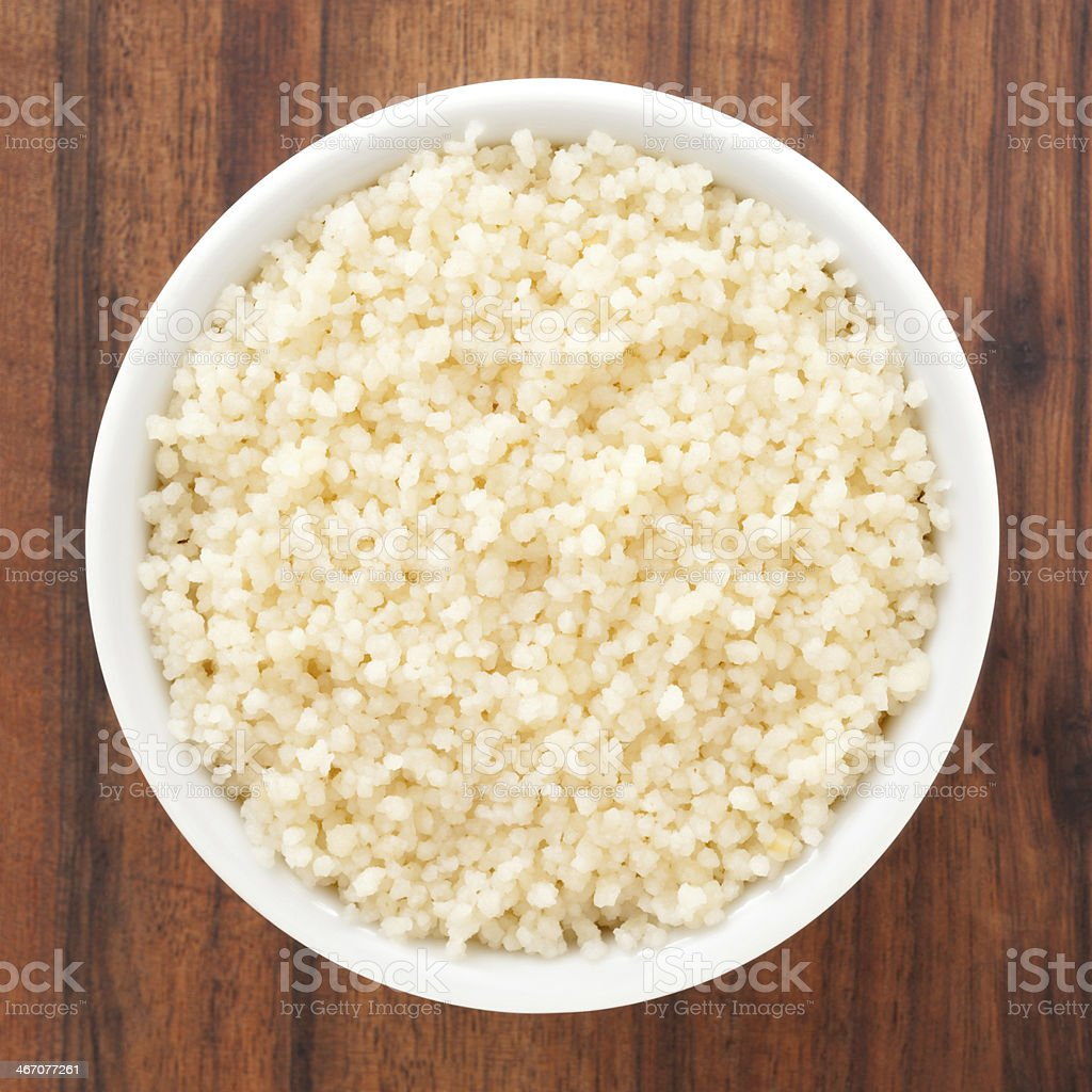 Boiled couscous stock photo