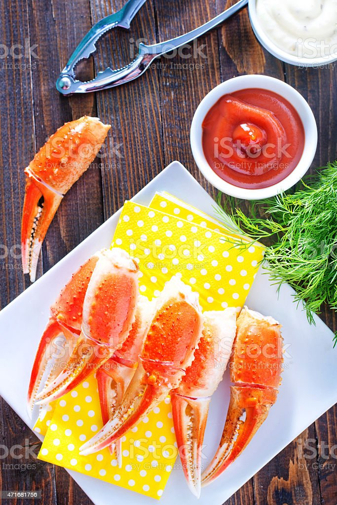 boiled crab claws stock photo