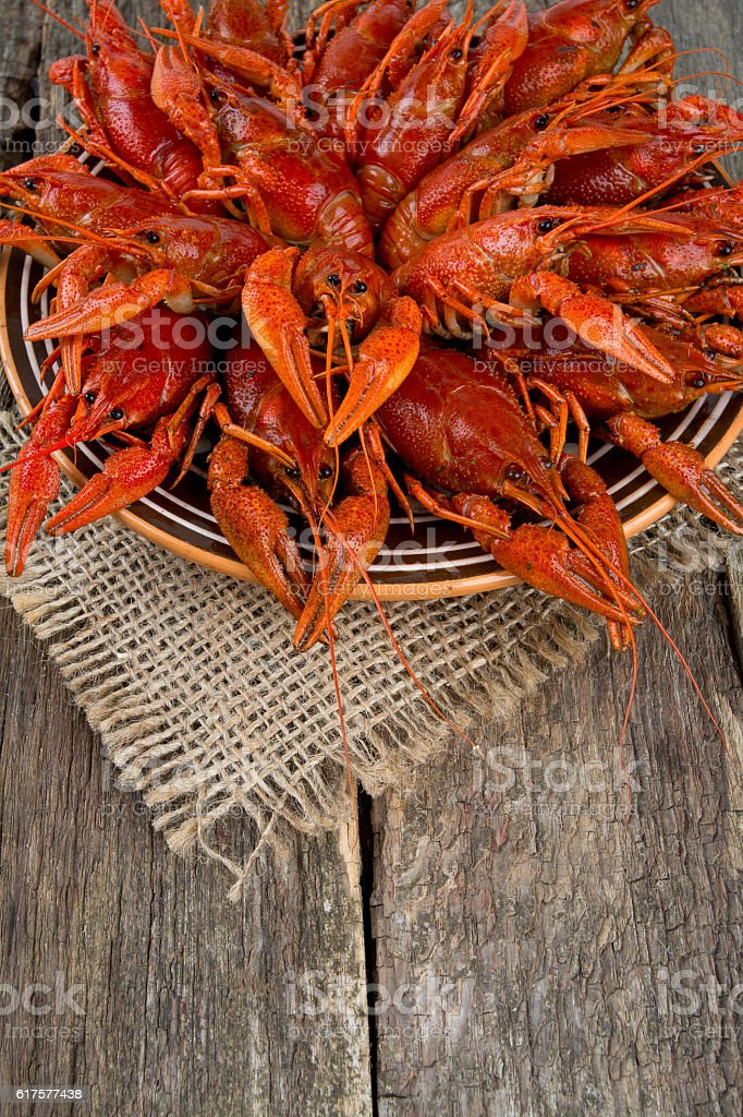 boiled crawfish on wooden surface stock photo
