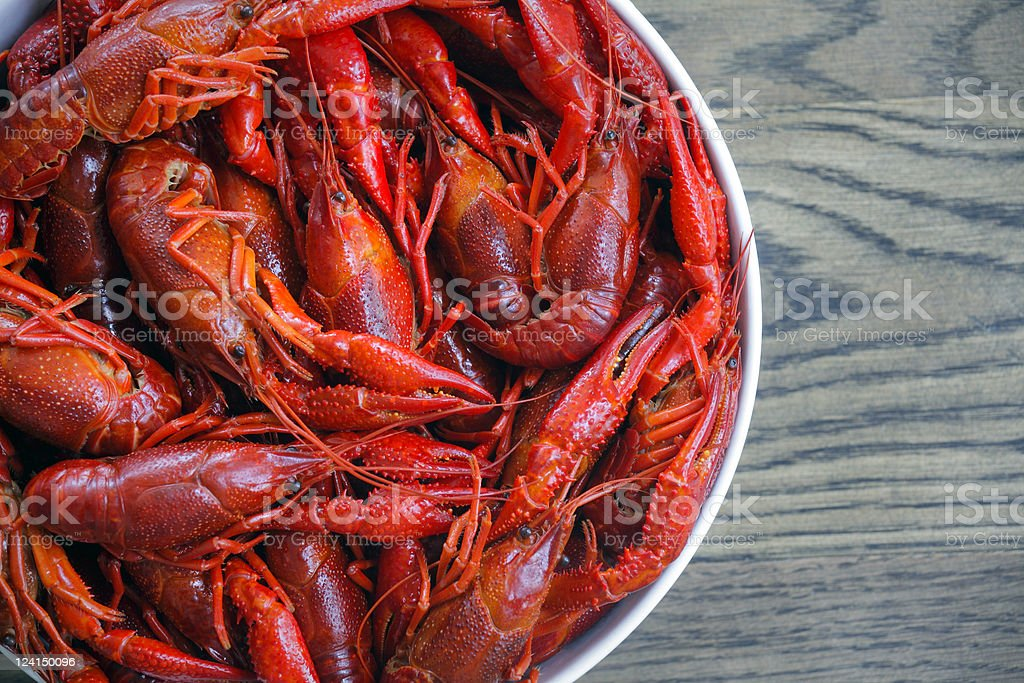 Boiled crawfish stock photo