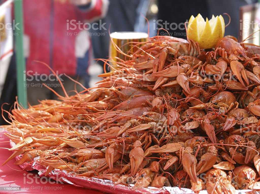 Boiled crayfishes royalty-free stock photo