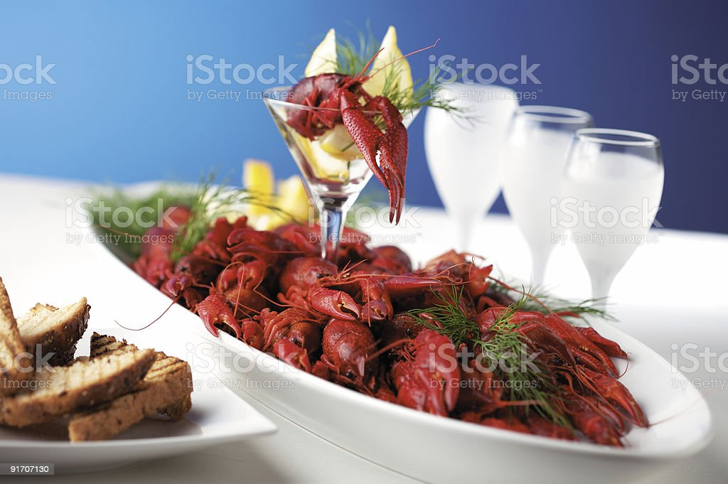 Boiled crayfishes royalty-free stock photo