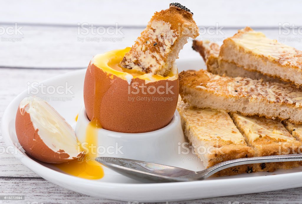 Boiled egg and toast stock photo