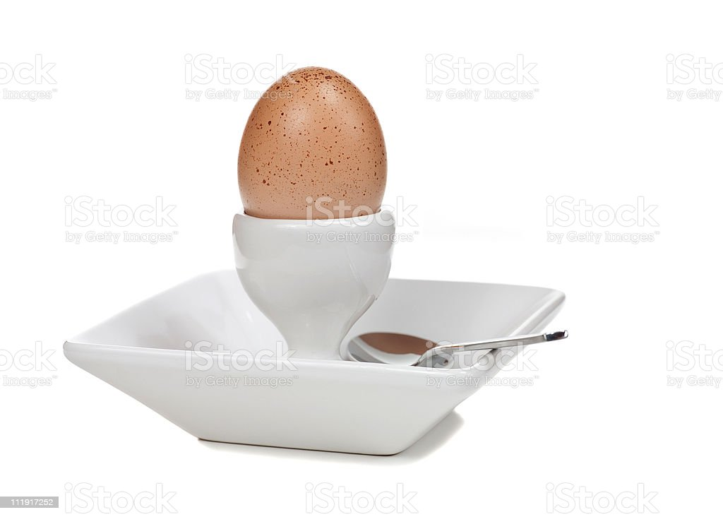 Boiled Egg in Dish with Spoon royalty-free stock photo