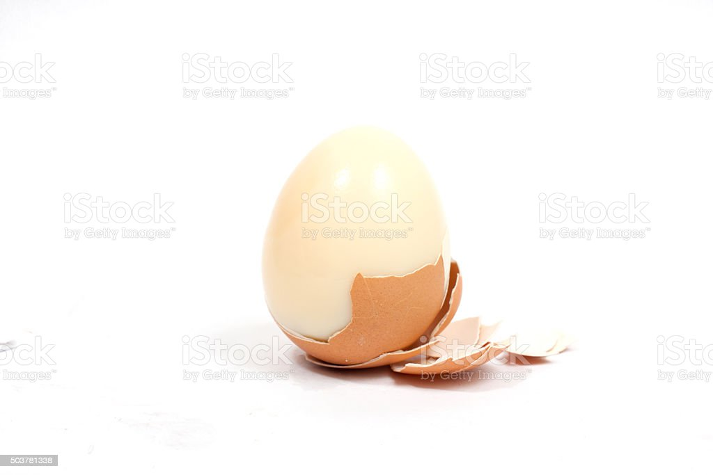 boiled egg on white background stock photo