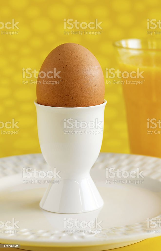 Boiled Egg on Yellow royalty-free stock photo