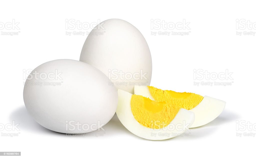 Boiled eggs on white background. stock photo