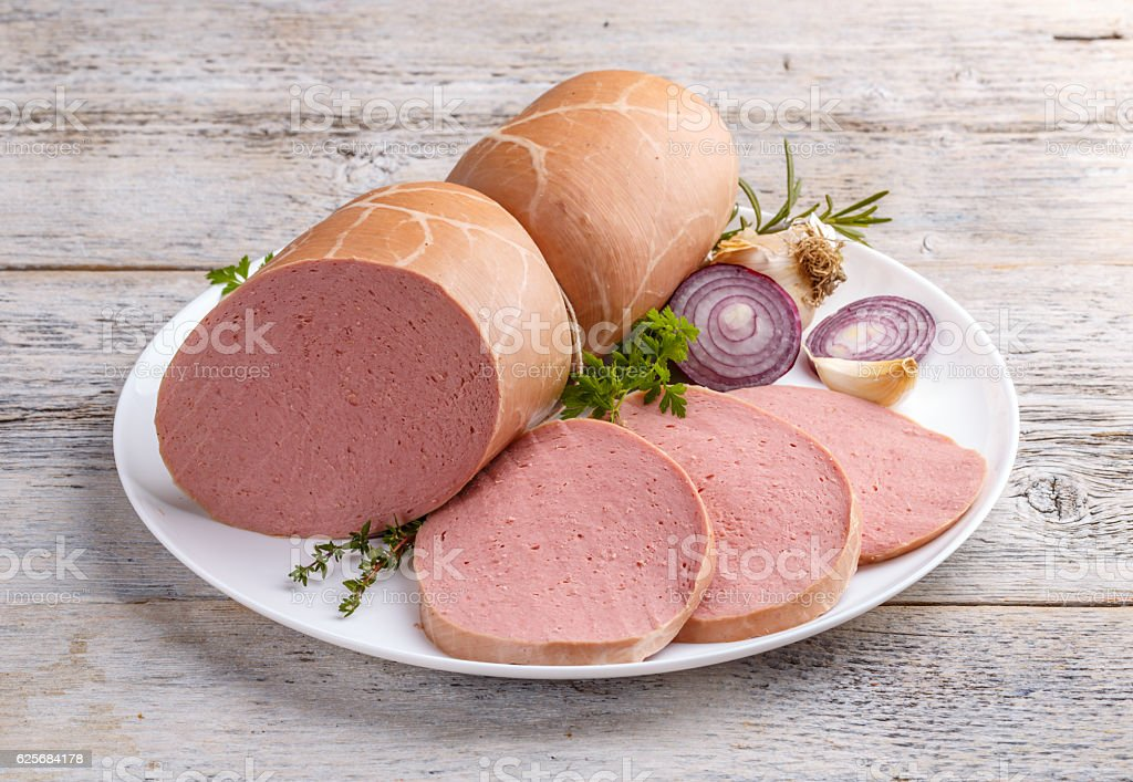 Boiled ham sausage stock photo