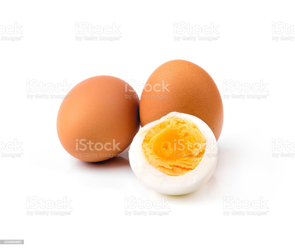 boiled hen eggs isolated on white stock photo