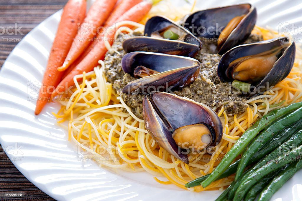 Boiled Mussel Clam Dinner stock photo