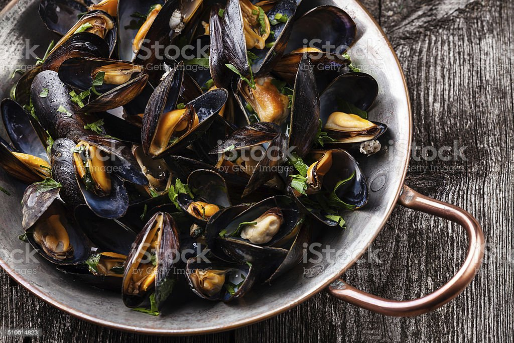 Boiled mussels stock photo