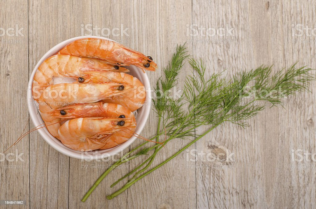 Boiled prawns with dill from above royalty-free stock photo
