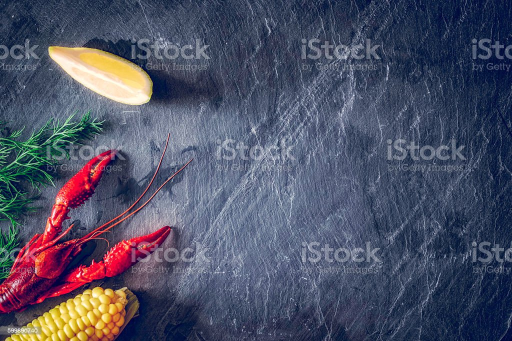 Boiled Red Crayfish Background stock photo