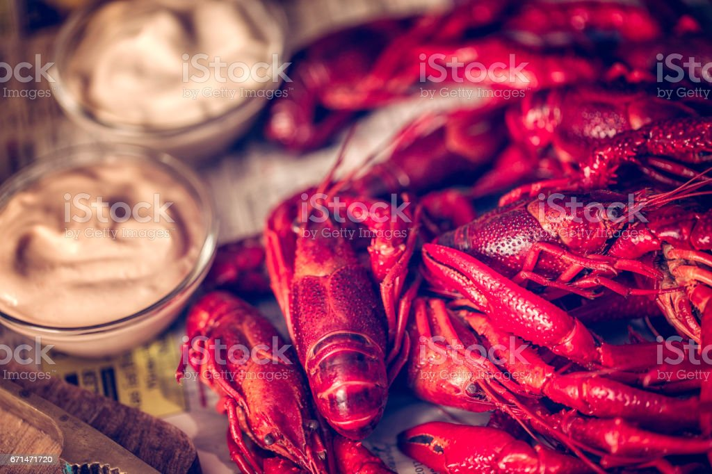 Boiled Red Crayfish with Fresh Dill stock photo