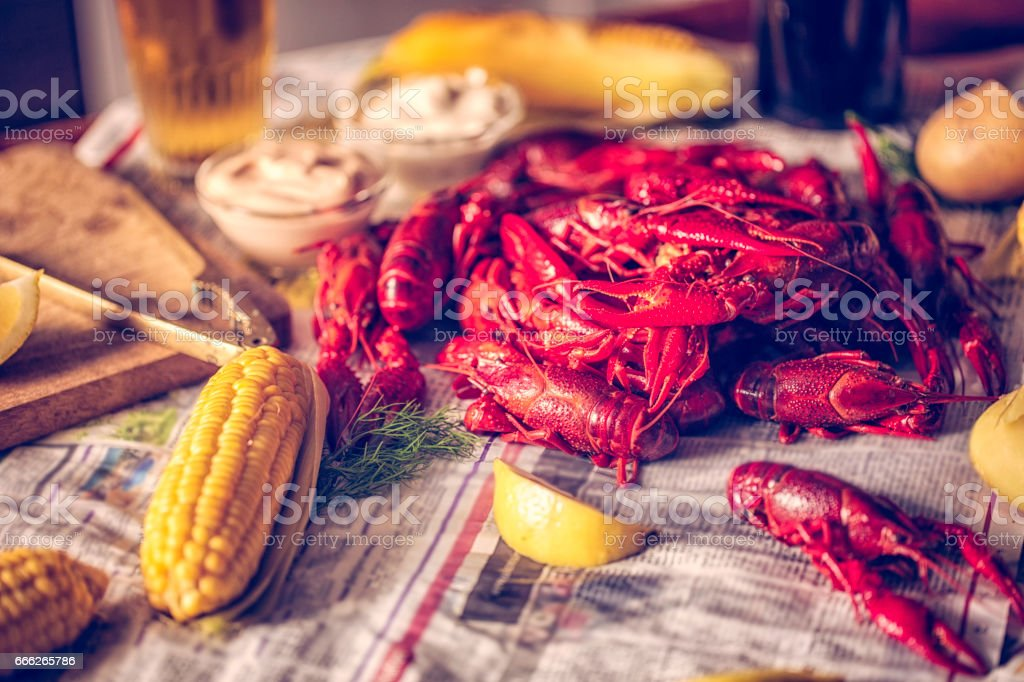 Boiled Red Crayfish with Sweet Corn and Potatoes stock photo