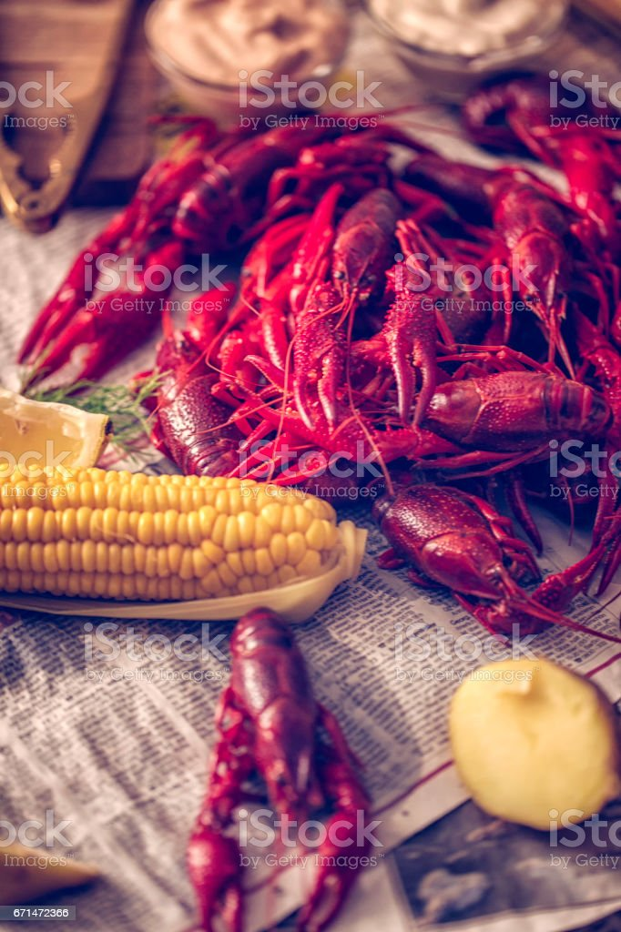 Boiled Red Crayfish with Sweet Corn stock photo