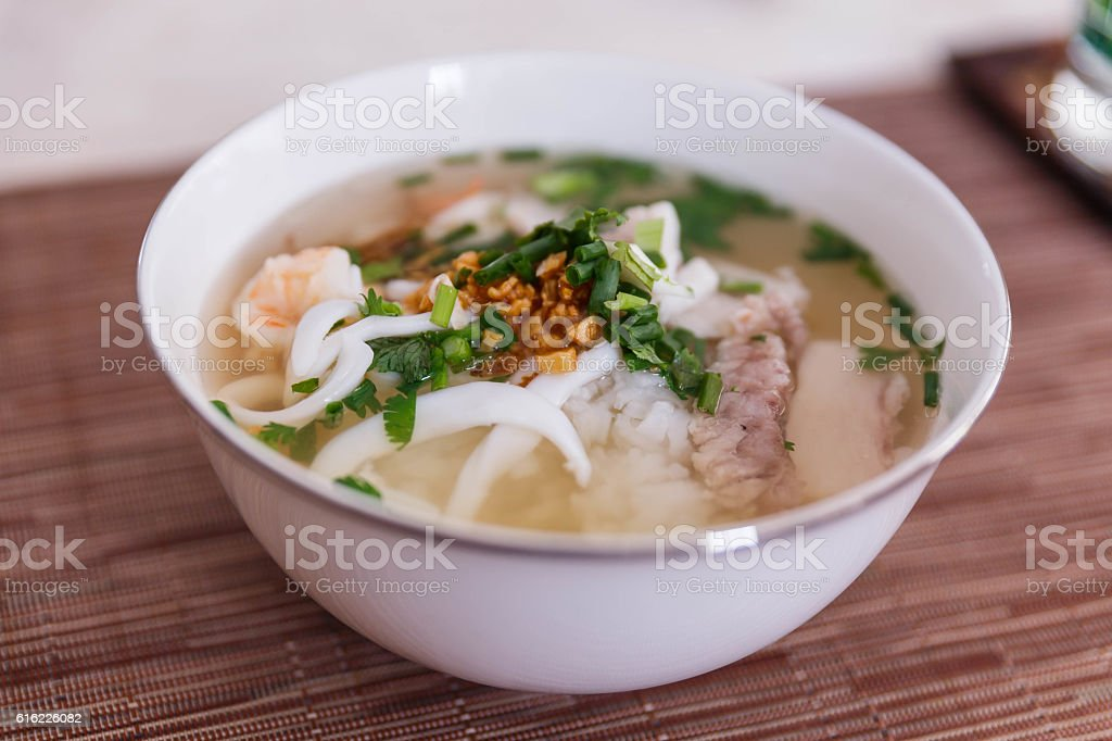 Boiled Rice with Pork and Shrimps stock photo