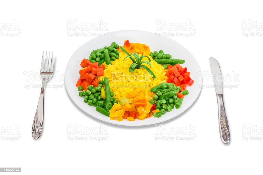 Boiled rice with vegetables stock photo