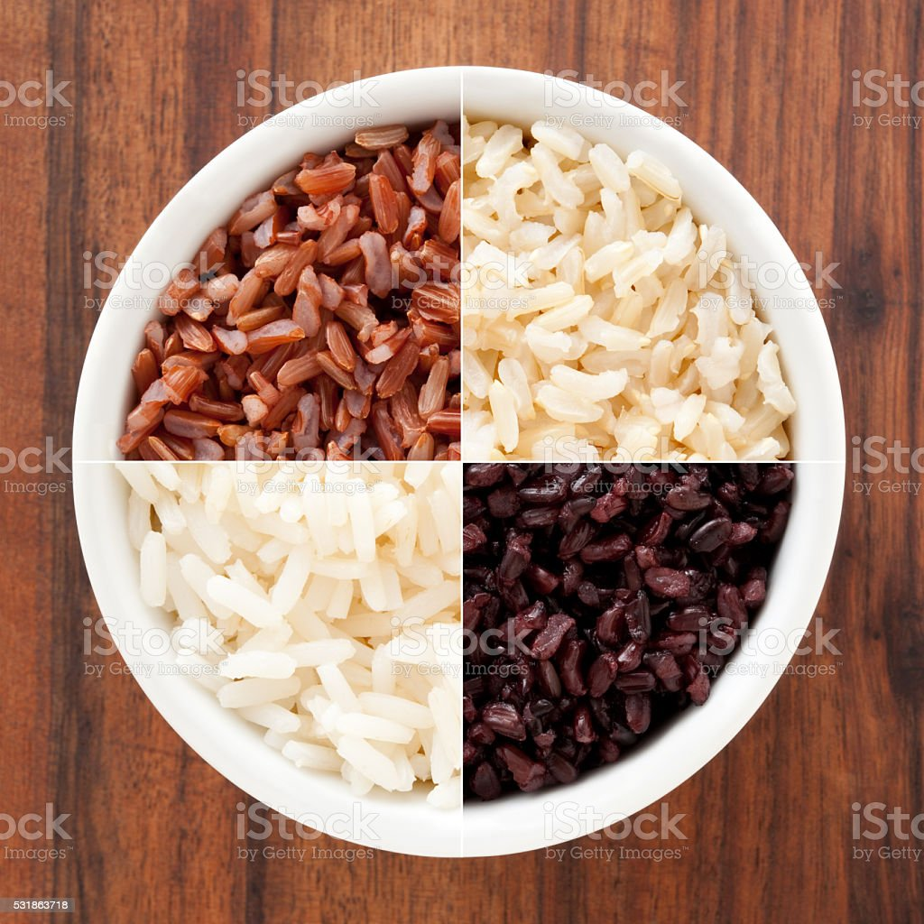 Boiled rices composition stock photo