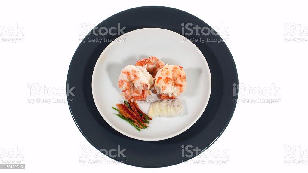 boiled shimp isolated stock photo