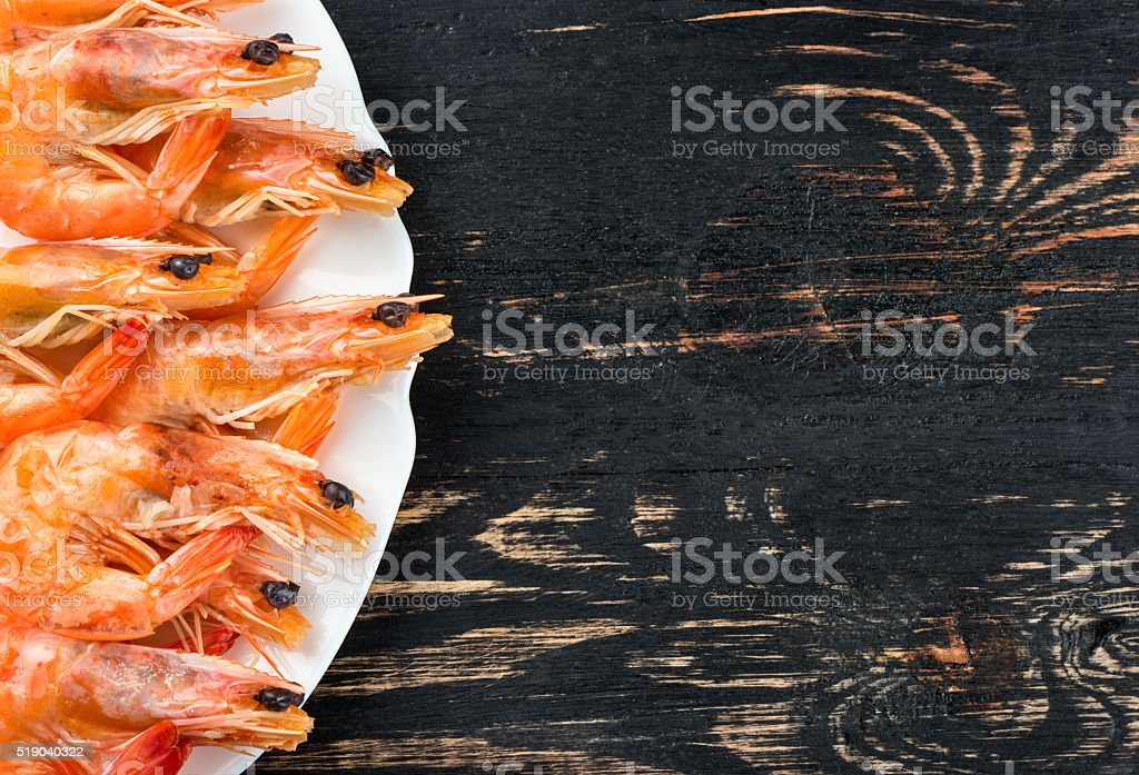 Boiled shrimp in a bowl stock photo