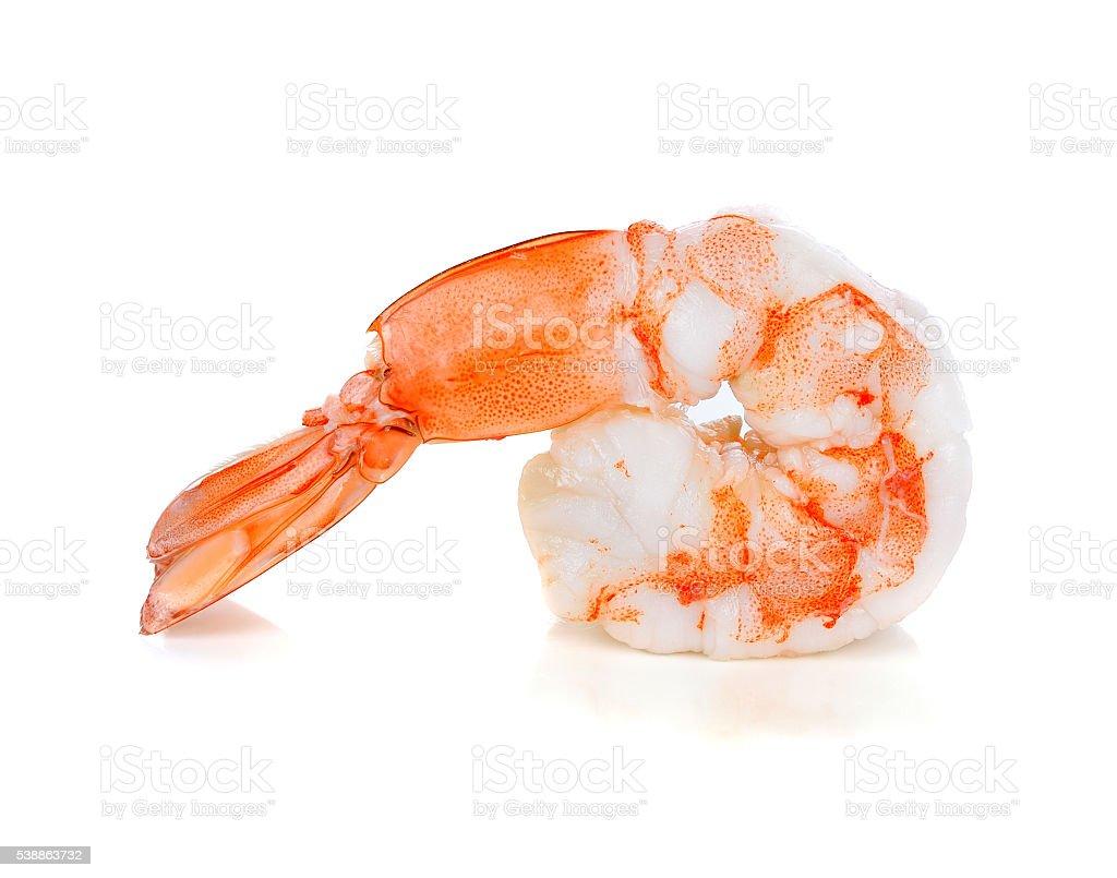 boiled shrimp isolated on white background. stock photo